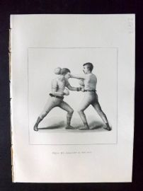 Badminton Library 1893 Antique Boxing Print. Lead-Off At The Body